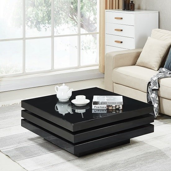 Triplo Rotating Coffee Table Square In Black High Gloss_2