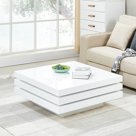 Triplo Rotating Coffee Table Square In White High Gloss_2