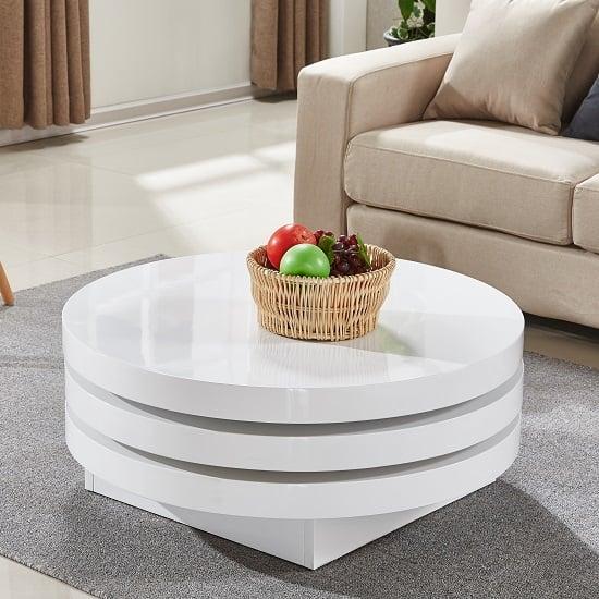 Coffee Table High Gloss White: Triplo Rotating Coffee Table Round In White High Gloss