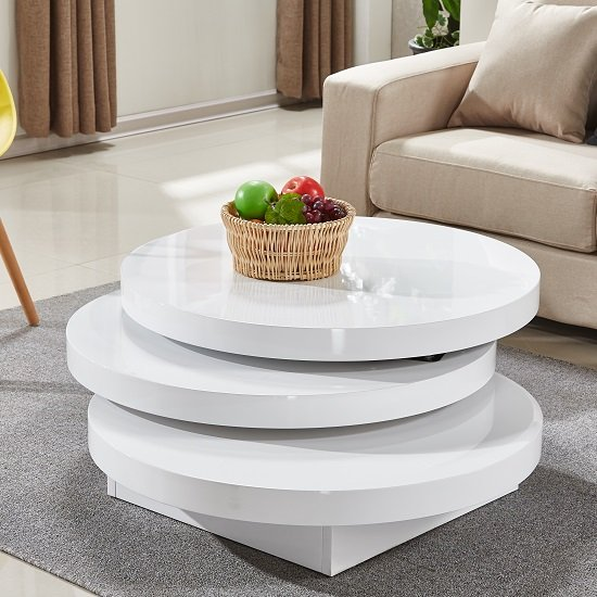 Triplo Rotating Coffee Table Round In White High Gloss