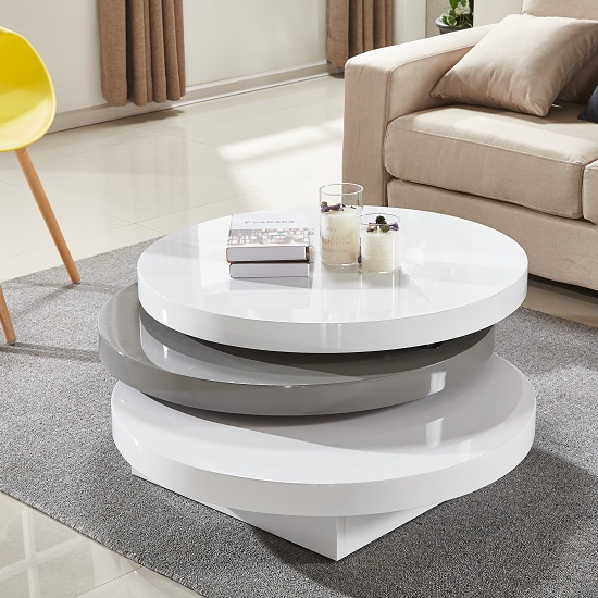 Triplo Rotating Coffee Table In White And Grey High Gloss_2