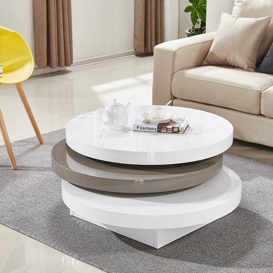 Triplo Rotating Coffee Table In White And Stone High Gloss_2