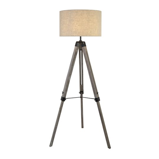 Tripod Wood Floor Lamp With Cream Linen Shade