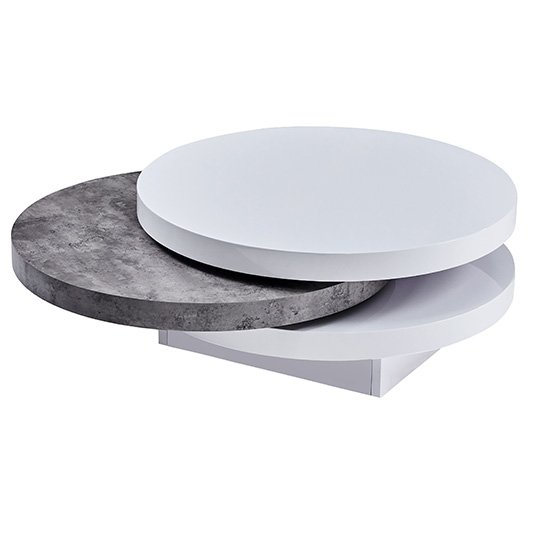 Triplo Rotating Round White Gloss Concrete Effect Coffee Table_2