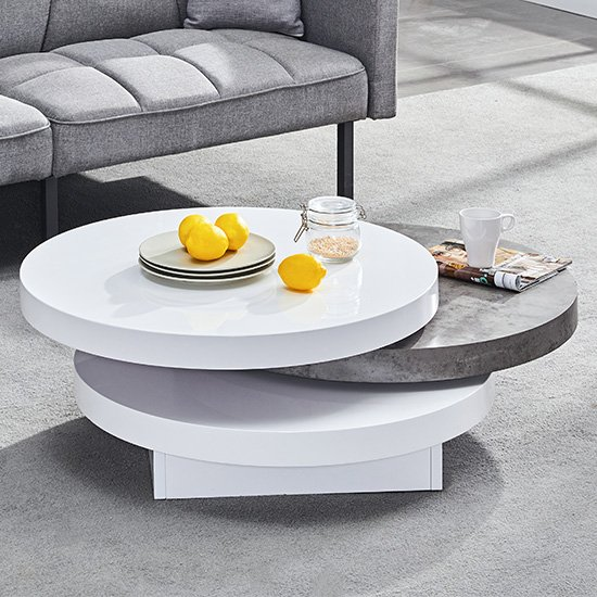 Triplo Rotating Round White Gloss Concrete Effect Coffee Table_1