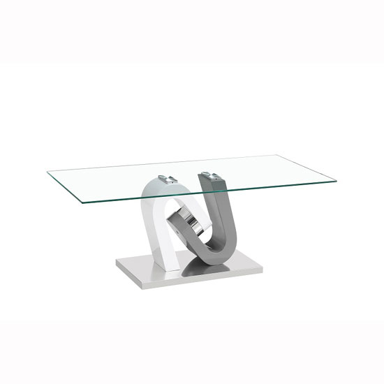 Barcelona Glass Coffee Table In Grey And White High Gloss