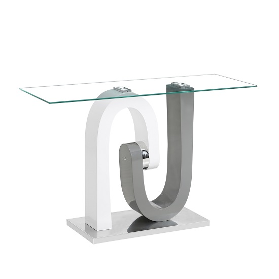 Barcelona Glass Console Table In Grey And White High Gloss