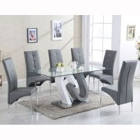 Barcelona Glass Dining Table High Gloss And 6 Vesta Grey Chairs