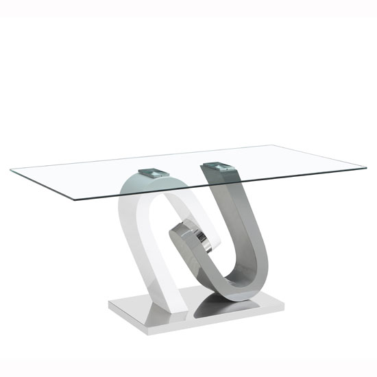 Barcelona Glass Dining Table In Grey And White High Gloss