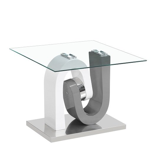Barcelona Glass Lamp Table In Grey And White High Gloss