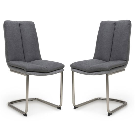 Triton Dark Grey Linen Effect Dining Chair In A Pair