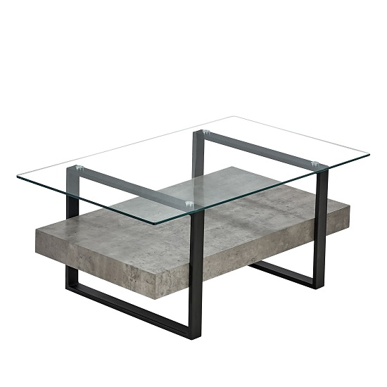 Triton Glass Coffee Table With Light Concrete And Black Metal