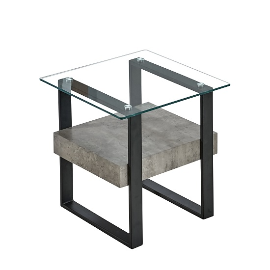 Triton Glass End Table With Light Concrete And Black Metal_1