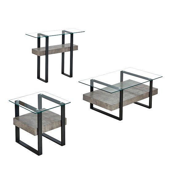 Triton Glass End Table With Light Concrete And Black Metal_3