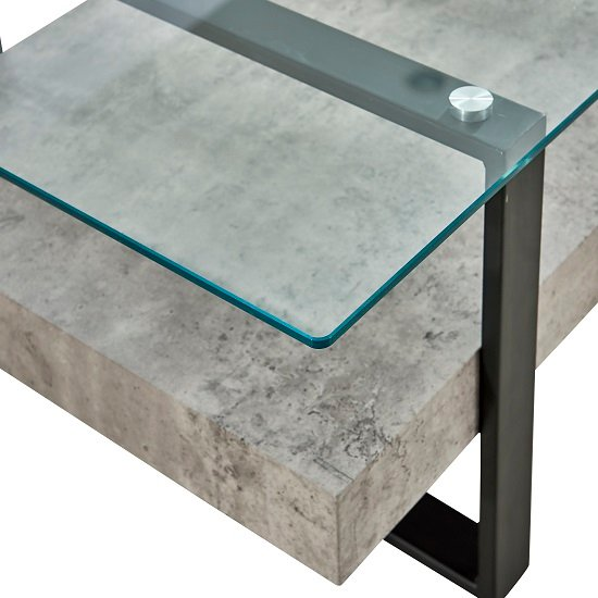 Triton Glass End Table With Light Concrete And Black Metal_2