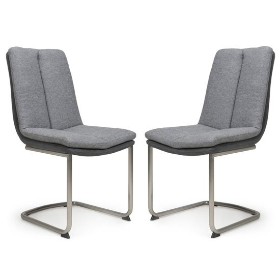 Triton Light Grey Linen Effect Dining Chair In A Pair
