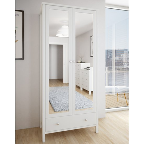 Tromso Mirrored Wardrobe In Off White With 2 Doors And 1 Drawer