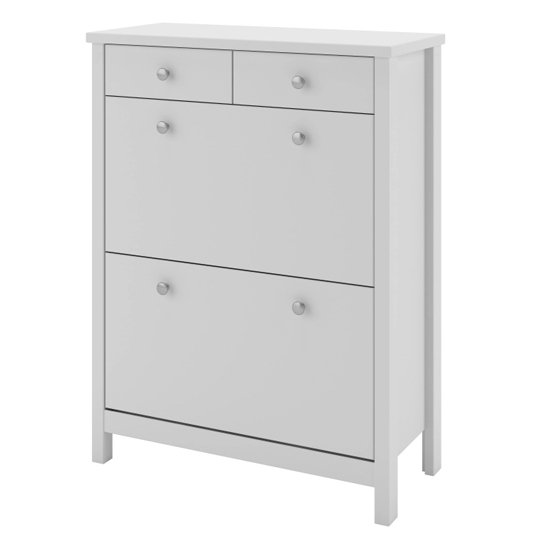 Tromso Shoe Storage Cabinet In White With 4 Drawers_3