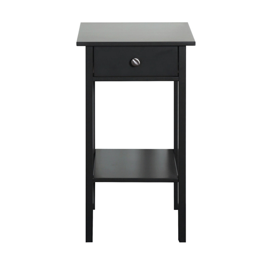 Tromso Wooden Bedside Cabinet In Black With 1 Drawer_2