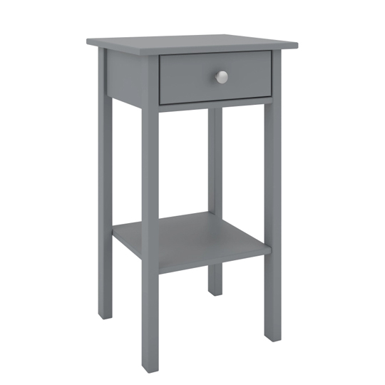 Tromso Wooden Bedside Cabinet In Grey With 1 Drawer