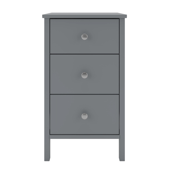 Tromso Wooden Bedside Cabinet In Grey With 3 Drawers_2
