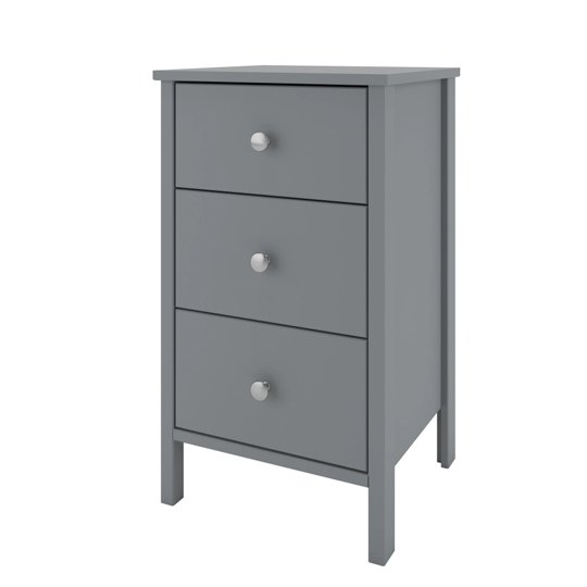 Tromso Wooden Bedside Cabinet In Grey With 3 Drawers_3