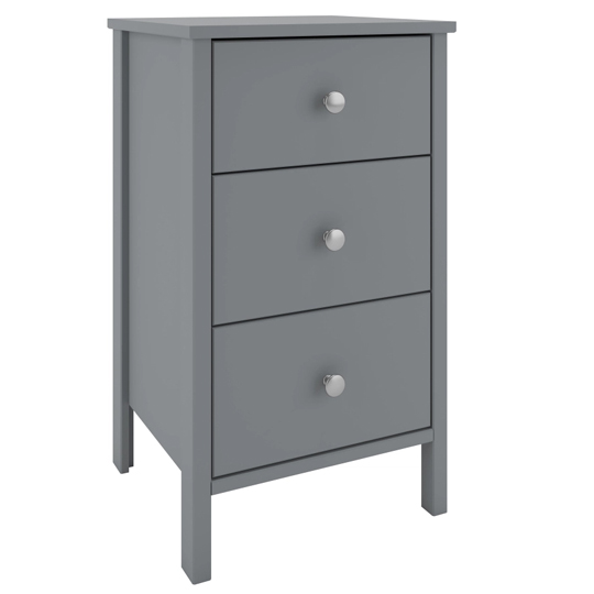 Tromso Wooden Bedside Cabinet In Grey With 3 Drawers