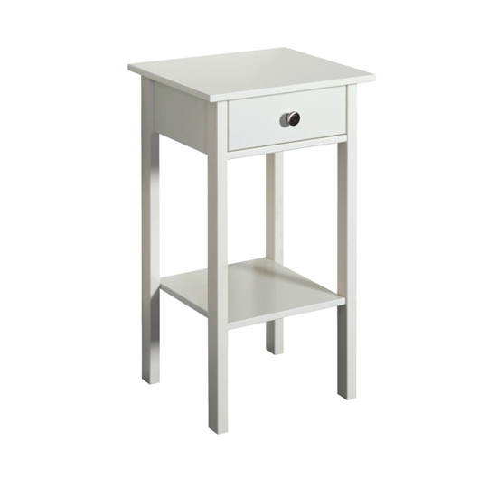 Tromso Wooden Bedside Cabinet In White With 1 Drawer