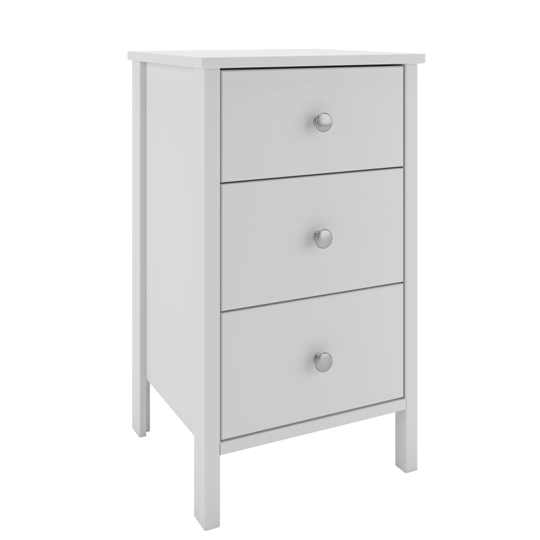 Tromso Wooden Bedside Cabinet In White With 3 Drawers