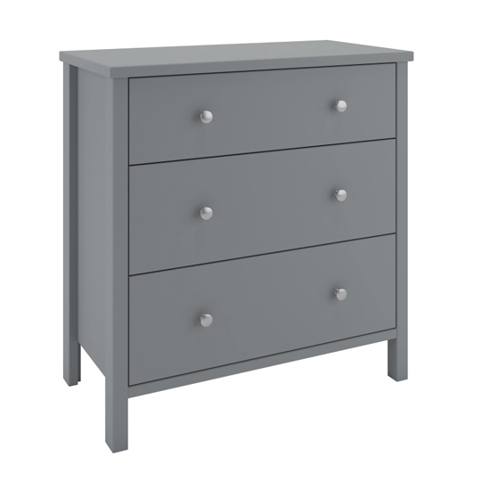 Tromso Wooden Chest Of Drawers In Grey With 3 Drawers