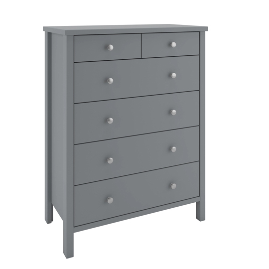 Tromso Wooden Chest Of Drawers In Grey With 6 Drawers