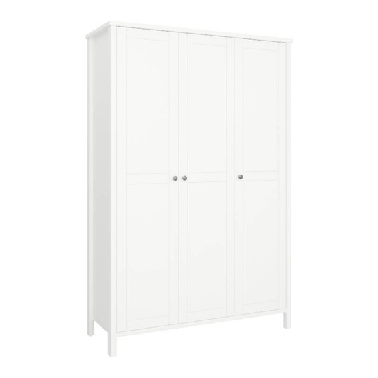 Tromso Wooden Wardrobe In White With 3 Doors_1