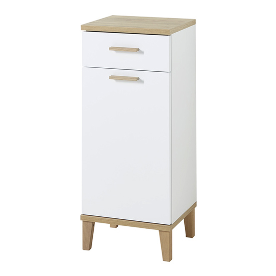 Tropea Bathroom Storage Cabinet In White And Navarra Oak