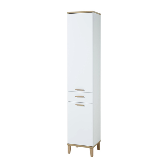 Tropea Tall Bathroom Storage Cabinet In White And Navarra Oak