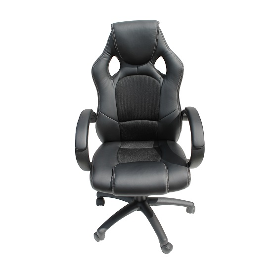 Tropez Home Office Chair In Black Fabric And Faux Leather_2