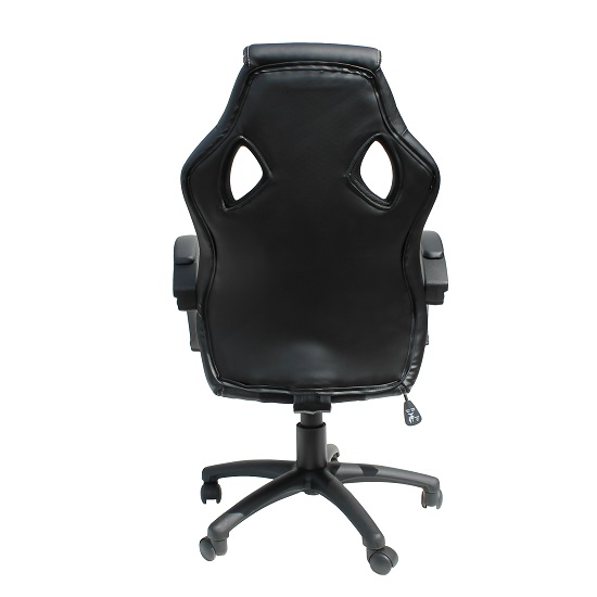 Tropez Home Office Chair In Black Fabric And Faux Leather_3