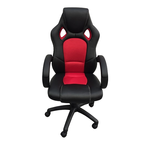 Tropez Home Office Chair In Red Fabric And Black Faux Leather_3