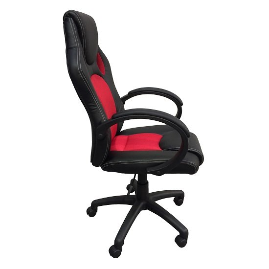 Tropez Home Office Chair In Red Fabric And Black Faux Leather_4