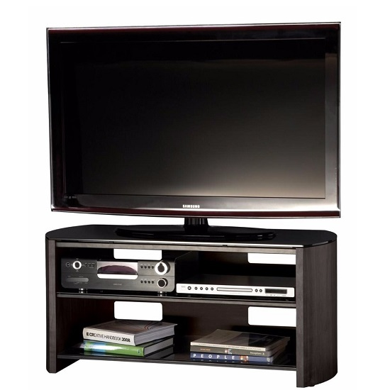 Trosper Medium Wooden TV Stand In Black Oak With Black Glass