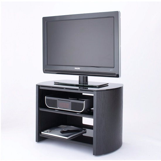 Trosper Small Wooden TV Stand In Black Oak With Black Glass