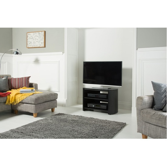 Trosper Small Wooden TV Stand In Black Oak With Black Glass_2