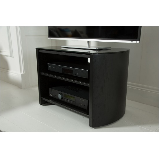 Trosper Small Wooden TV Stand In Black Oak With Black Glass_3