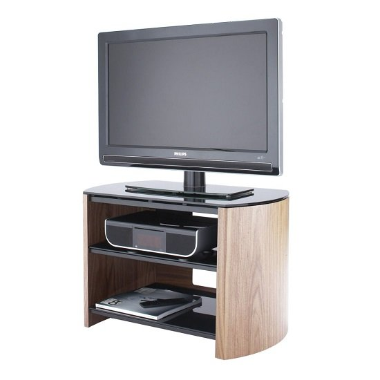 Trosper Small Wooden TV Stand In Light Oak With Black Glass_1