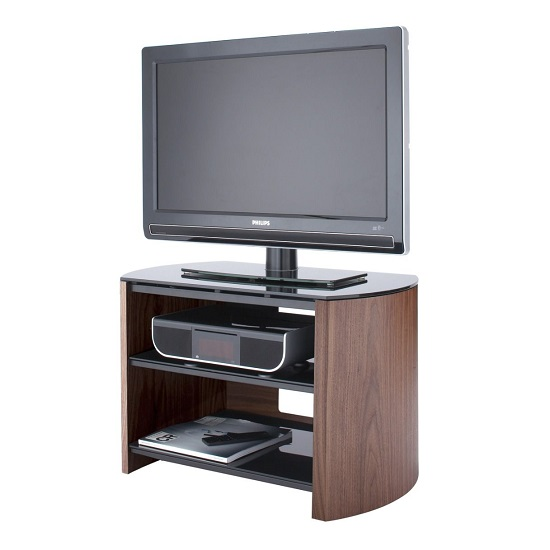 Trosper Small Wooden TV Stand In Walnut With Black Glass