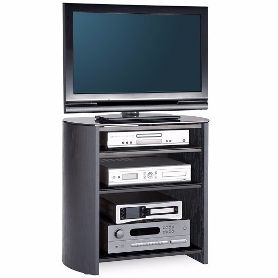 Trosper  Wooden TV Stand In Black With Four Shelves