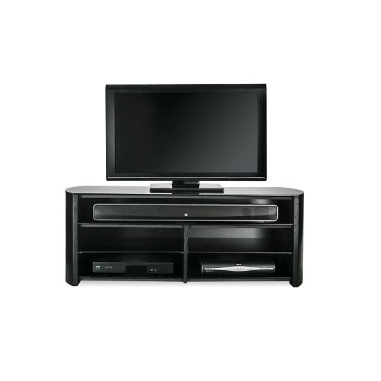 Trosper Wooden TV Stand In Black Oak With Sound Bar Shelf