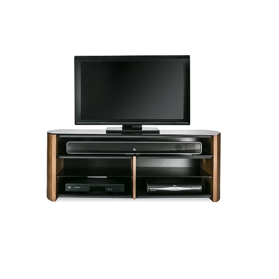 Trosper Wooden TV Stand In Walnut With Sound Bar Shelf