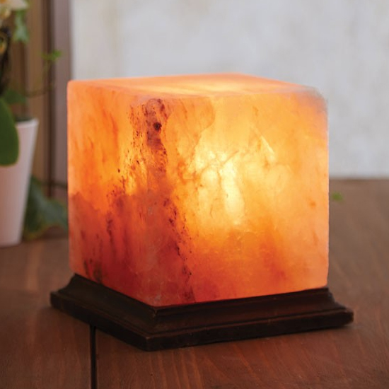Product photograph showing Trox Box Design Salt Table Lamp In Orange