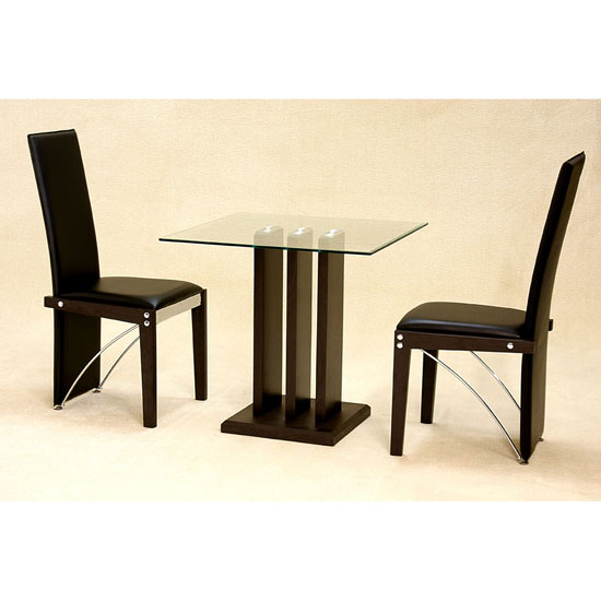 Troy clear glass 2 seater dining set 7287 furniture in for 2 seater dining table