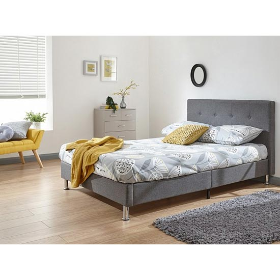 Tucson Fabric Double Bed In Grey